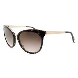 Tom Ford TF 461 52G Emma Tortoise Gold Plastic Cat-Eye Brown Gradient Lens Sunglasses