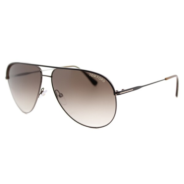 97932ad0c6de9 Tom Ford TF 466 49E Erin Brown Metal Aviator Brown Gradient Lens Sunglasses
