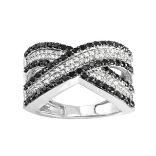 Elora 10k White Gold 1ct TDW Round Black and White Diamond Cocktail Right Hand Ring (H-I)