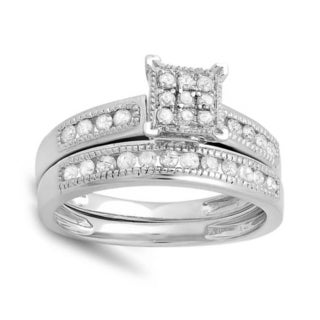 Elora 14k White Gold 1/2ct TDW Round White Diamond Bridal Ring Set (I-J, I2-I3)