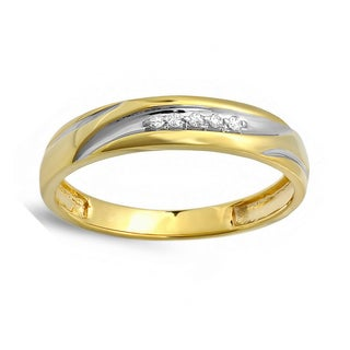 Elora 18k Two-tone Gold over Silver Men's Overlay Diamond Accent Anniversary Band