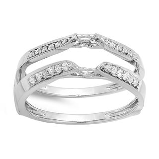14k White Gold 1/4ct TDW Round Diamond Bridal Guard Double Ring (H-I, I1-I2)