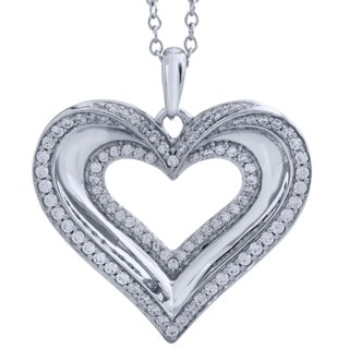 Bridal Symphony 10k White Gold 0.53CTtw Diamond Heart Pendant (I-J, I2-I3)