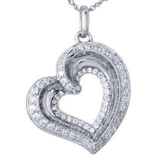 Bridal Symphony 10k White Gold Diamond Accent Heart Pendant