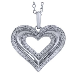 Bridal Symphony 10K White Gold/Rhodium 1/6 CT TW Diamond Heart Pendant