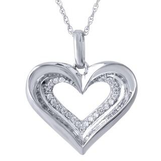 Bridal Symphony 10k White Gold 1/10ct TDW Diamond Heart Pendant Necklace (I-J, I2-I3)