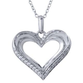 Bridal Symphony Sterling Silver 0.16CTtw Heart Pendant Necklace (I-J, I2-I3)