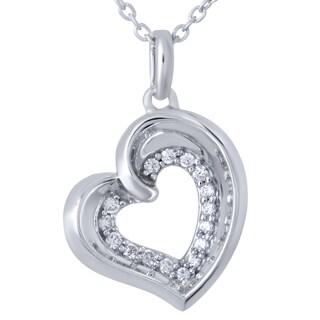 Bridal Symphony Sterling Silver 1/10ct TDW Diamond Heart Pendant (I-J, I2-I3)