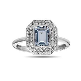 14k White Gold Emerald-cut Aquamarine and 1/5ct TDW Diamond Ring (H-I,SI1-SI2)