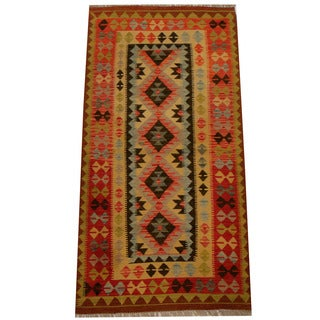 Herat Oriental Afghan Hand-woven Vegetable Dye Wool Kilim (3'4 x 6'8)