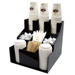 Winco Black Plastic 3-tier Cup and Lid Organizer