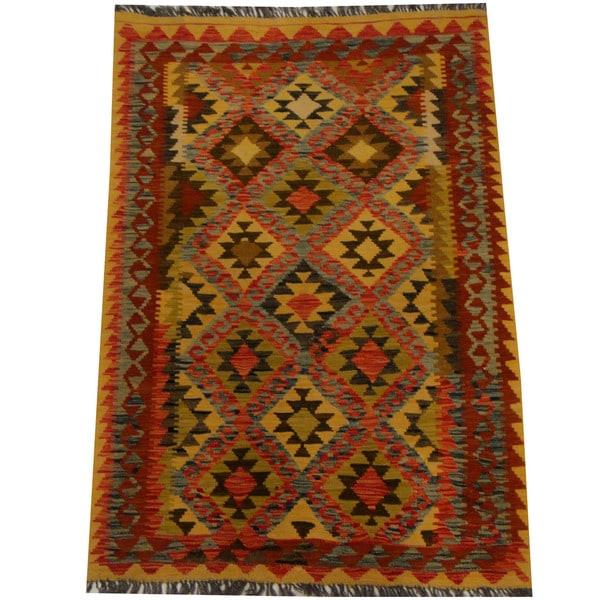 Herat Oriental Afghan Hand-woven Vegetable Dye Wool Kilim (3'6 x 5') - 3'6 x 5'
