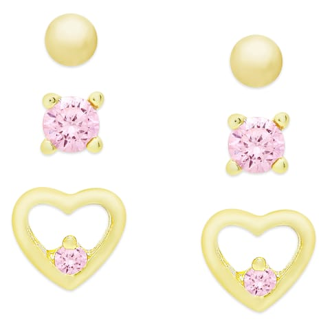Molly and Emma Gold Over Sterling Silver and Cubic Zirconia Earrings Set