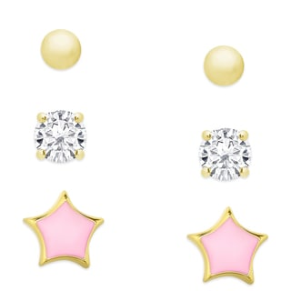 Molly and Emma Gold Over Sterling Silver Cubic Zirconia Earrings Set