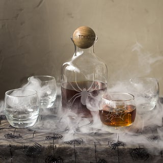 'Toxic' Spider Glass Decanter with Wood Stopper Set
