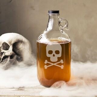 Skull and Crossbones Glass 64-ounce Growler