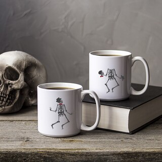 Set of 2 White Ceramic Dancing Skeletons 20-ounce Coffee Mugs
