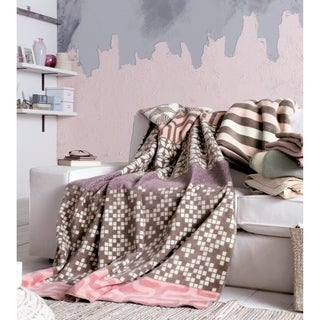 IBENA Rosa Mix Pink/Brown/Off-white Cotton Blend Oversized Reversible Throw