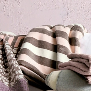 IBENA Rosa Brown/Ivory/Rose Cotton Blend Striped Oversized Throw