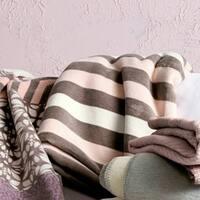 IBENA Powder Pink Striped Oversized Throw