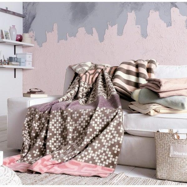IBENA Rosa Brown/Ivory/Rose Cotton Blend Striped Oversized Throw