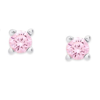 Molly and Emma Sterling Silver Children's Pink Topaz or White Topaz Earring Set