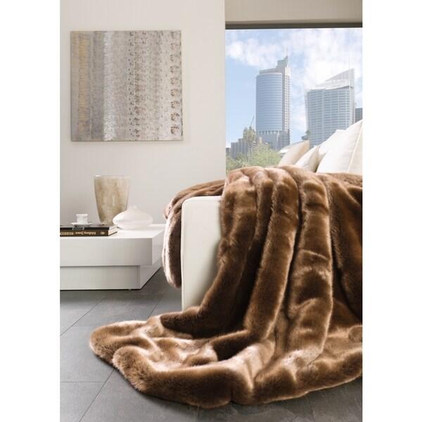 IBENA Luxury Brown Faux Fur Oversized Plush Throw
