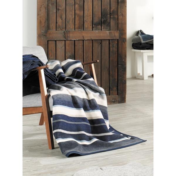 IBENA Blue/Gray Striped Oversized Throw