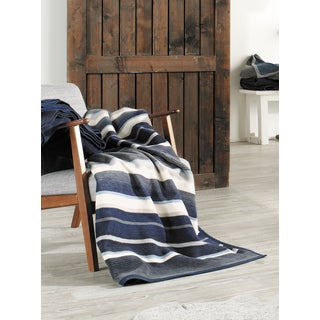 IBENA Blue/Gray Striped Oversized Throw