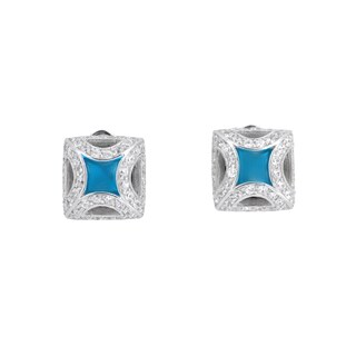 Collette Z C.Z. Sterling Silver Rhodium Plated Square Shape Turquoise Earrings