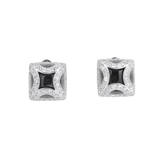 Collette Z C.Z. Sterling Silver Rhodium Plated Black Square Shape Earrings