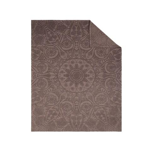 IBENA Celestial Brown Polyester and Cotton Textured Oversized Throw
