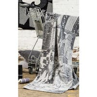 IBENA Big City Black and White Pure Cotton Oversized Throw