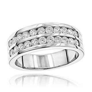 Luxurman 14k Gold Men's 1 1/2ct TDW Diamond Wedding Ring (G-H, SI1-SI2)