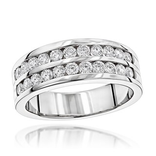 Luxurman 14k Gold Men's 1 1/2ct TDW Diamond Wedding Ring