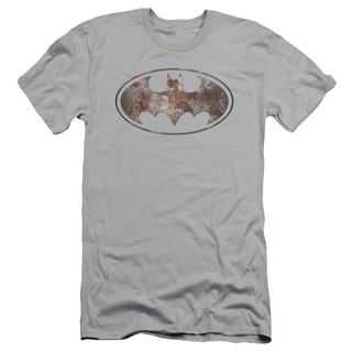 Batman/Heavy Rust Logo Short Sleeve Adult T-Shirt 30/1 in Silver