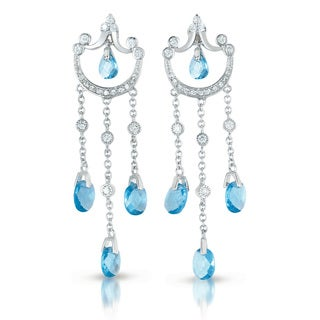Collette Z C.Z. Sterling Silver Rhodium Plated Blue Topaz Dangling Earrings