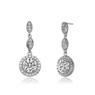 Collette Z CZ Sterling Silver Rhodium Plated Dangling Earrings
