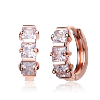 Collette Z Sterling Silver Rose Plated Square-cut Cubic Zirconia Mini Hoop Earrings