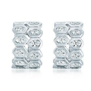 Collette Z C.Z. Sterling Silver Rhodium Plated Double Bezel Set Two Row Omega Earrings.