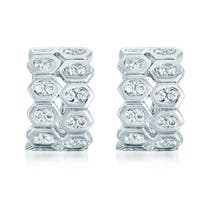 Collette Z C.Z. Sterling Silver Rhodium Plated Double Bezel Set Two Row Omega Earrings. - White