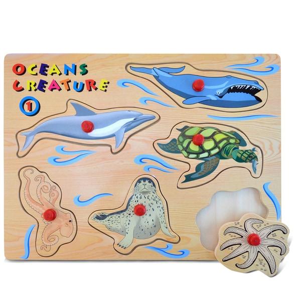 Puzzled Large Ocean Creatures 1 Peg Puzzle