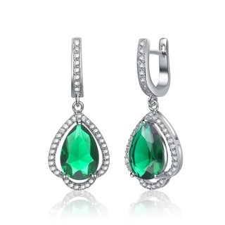 Collette Z C.Z. Sterling Silver Rose Plated Emerald Drop Earrings