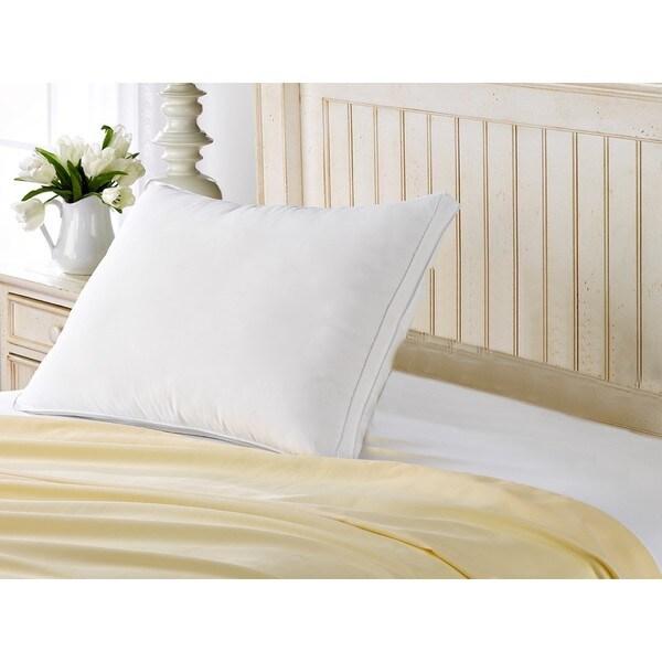 Exquisite Hotel Gusseted Gel Fiber Filled Med/Firm Overstuffed Pillow - Best for Side/Back Sleeper - White