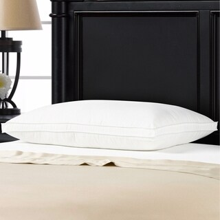 Exquisite Hotel Gusseted Gel Fiber Filled Med/Firm Overstuffed Pillow - Best for Side/Back Sleeper - White