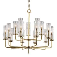 Hudson Valley Wentworth 15-light Aged Brass Chandelier