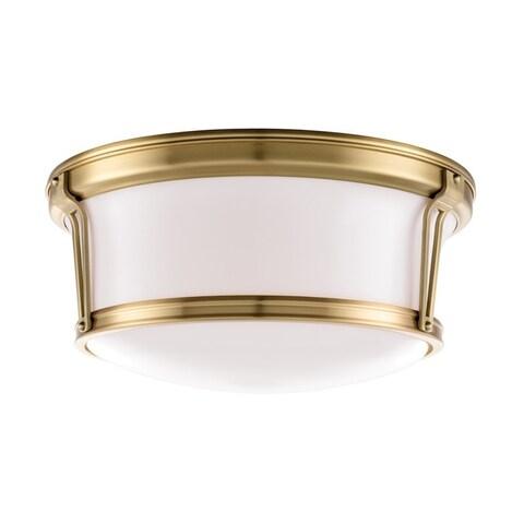 Hudson Valley Newport 15-inch Aged Brass Flush Mount