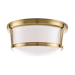 Hudson Valley Newport 15-inch Aged Brass Flush Mount