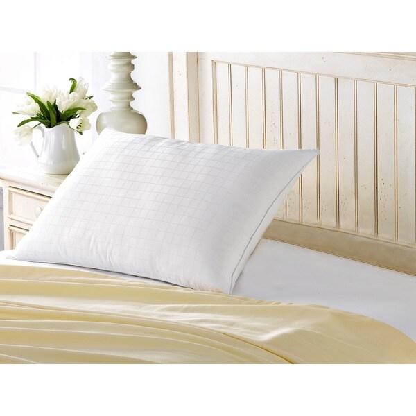 100% Cotton Down-Alternative Gel Fiber Filled Med/Firm Overstuffed Pillow - Best for Side/Back Sleeper - White