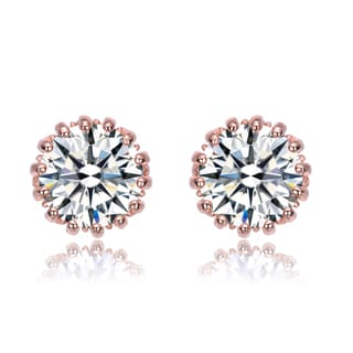 Collette Z CZ Sterling Silver Rose Plated Round Stud Style Earrings